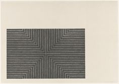 """Frank Stella. Arbeit Macht Frei from Black Series I. 1967. One from a portfolio of nine lithographs. composition: 9 5/16 x 14 5/8"""" (23.6 x 37.2 cm); sheet: 15 3/8 x 21 13/16"""" (39 x 55.4 cm). John B. Turner Fund. 69.1968.7. © 2017 Frank Stella / Artists Rights Society (ARS), New York. Drawings and Prints"""