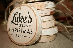 personalized baby's first Christmas wooden ornament by pixelsandwood on Etsy