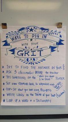 Using your GRIT incentive poster. **Great for supporting generalization of learned skills in the class setting.