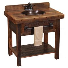 Barnwood Open Vanity with Shelf -Artisan Top - BW Legs WITH TOWEL BAR