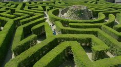 Leeds castle maze with its central tower which leads down into a grotto below the maze.