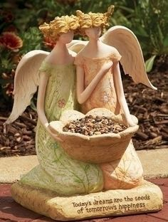 15 Two Angels Holding Birdfeed Outdoor Garden Figure by Roman. $115.00. STATUE