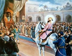 Guru Gobind Singh Ji,rides into Mughal court in Delhi(1705-06CE) honored by Emperor Bahadur Shah for helping him to reclaim his right to the Mughal throne by defeating his brother.Guru helped.