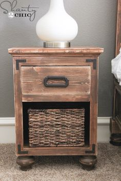 Learn how to build nightstands with bun feet! FREE plans & tutorial at Shanty-2-Chic.com