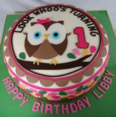 look whoos turning one owl cakes Owl Cakes, Bird Cakes, Cupcake Cakes, Owl Themed Parties, Owl Birthday Parties, Birthday Ideas, Birthday Cakes, Pretty Cakes, Cute Cakes