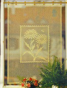 Gardine häkeln - cortinas crochet curtain