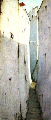 British Artist Cyril CROUCHER-Calle Lel Jarral Frigiliana