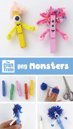 super easy peg monster craft kids will love, made from ordinary clothes pegs, yarn and pipe cleaners. Make them as a fun kids craft idea for Halloween or as a cute handmade non-candy gift #pegcraft #pegs #monster #monstercrafts #kidsactivities #thecrafttrain #halloweencrafts #funkidscrafts Diy Crafts For Kids Easy, Craft Kids, Diy Projects For Kids, Craft Activities For Kids, Kid Crafts, Halloween Crafts, Paper Crafts, Monster Crafts, Counseling Activities