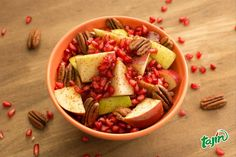Fix yourself up a bowl of fruit and pecans with Tajín