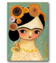 ORIGINAL acrylic painting FRIDA Kahlo YELLOW roses mixed by tascha