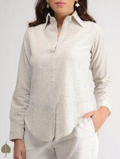 c648723c53fd6 Buy White-Blue Checkered Organic Cotton Shirt by Jaypore Online at  Jaypore.com