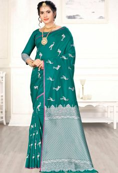 Weaving Art Silk Designer Traditional Saree in Sea Green Indian Sarees, Silk Sarees, Teal Green, Green Art, Saree Shopping, Traditional Sarees, Weaving Art, Indian Ethnic Wear, Green Fashion