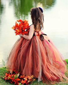 20 Fall Flower Girl Outfits That Are Just Too Cute: #17. Bold shades of red and brown tutu dress