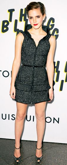 Emma Watson was the picture of grace at the Los Angeles premiere of The Bling Ring in a short grey Chanel dress, Guiseppe Zanotti shoes and a Neil Lane ring.