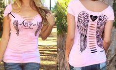 TEE SHIRT rose déchiré inscription Angel et imprimé ailes d ange.