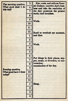 benjamin franklin's daily to-do list | [ just saying ] | Pinterest