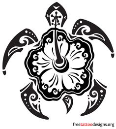 Hawaiian turtle tattoo design