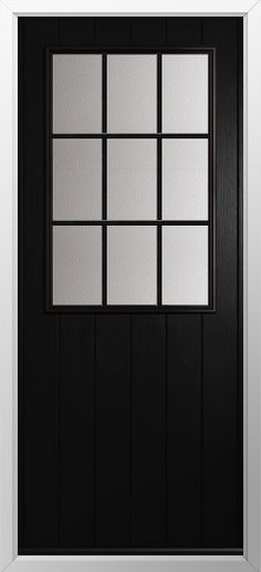 Composite door, Cottage grill in black. High quality, secure and in your choice of colours! Check out our new extended range and design your new composite door today with Just Value Doors.