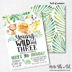 Wild Jungle Birthday Party Invitation, Printable, Young Wild and Three Invite, 3rd, Topical, Palm, Lion, Monkey, Turtle, Animals, Safari by misspokadot on Etsy https://www.etsy.com/listing/547831629/wild-jungle-birthday-party-invitation