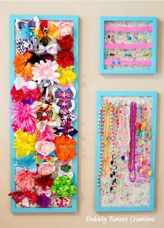Transform a store-bought frame into a new place to hang your kids' hair accessories.