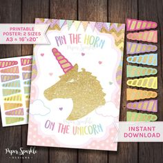 Pin the Horn on the Unicorn Unicorn props by PaperSparkleDesigns