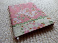 Japanese Cherry Blossoms and Rick Rack Fabric Covered B6 Retro Notebook by CraftyTokyoMama on Etsy