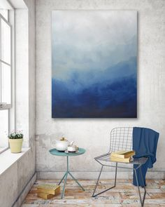 Description: Modern abstract acrylic painting on canvas. Navy, blue, sage, cream/white color palette. A semi-gloss top coat has been added for a modern sheen,  and to protect the surface from dust/pollutants and offer UV filtering.   .................................................................