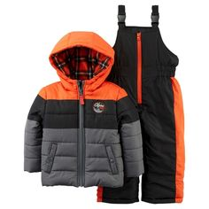 Just One YouMade by Carter's Boys' 2 Piece Snowsuit Set - Orange/Grey 2T, Toddler Boy's