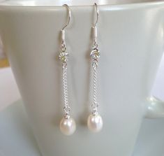 Pearl Earrings - 6-7 mm White Freshwater Pearl Dangle Earrings, Fashion earrings $16