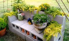 How to build a cinder block bench and use it as a planter.