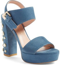 82f0045bd9af Pearl encrusted block heels in supple suede are the perfect bold summer shoe  Stuart Weitzman Sandals