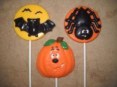 1 chocolate Halloween spider pumpkin bat molded lollipops lollipop | sapphirechocolates - Edibles on ArtFire