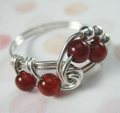 Carnelian Ring Wire Wrapped Sterling Silver by holmescraft on Etsy, $23.00