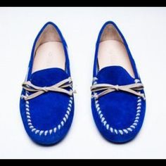 Vera Wang Blue Suede Leather Loafers