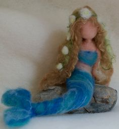 Little Mermaid Needle Felted Victorian by ClaudiaMarieFelt on Etsy Mermaid Toys, Mermaid Fairy, Christian Anders, Hans Christian, Victorian Illustration, Felt Bunny, Needle Felting Tutorials, Felt Fairy, Felt Patterns