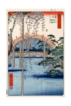 Grounds of Kameido Tenjin Shrine, Plate 57 from the Series 'One Hundred Views of Famous Places in… Giclee Print by Ando Hiroshige at Art.com