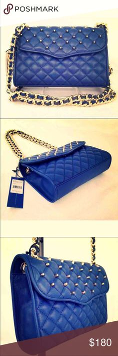NWT REBECCA MINKOFF MINIAFFAIR STUD LEATHER BAG NWT REBECCA MINKOFF MINI AFFAIR WITH STUDS NAVY BLUE LEATHER HANDBAG  100% Leather Comes with garment bag Rebecca Minkoff Bags Shoulder Bags
