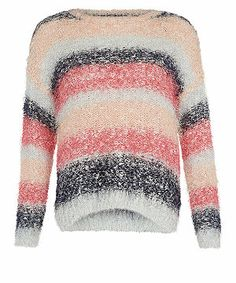 null (Multi Col) Coral Black and Blue Popcorn Stripe Jumper    294068499   New Look