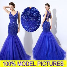 Royal Blue Sexy Mermaid Prom Party Gowns V-Neck Crystals Beading Criss Cross Tulle Luxury Evening Occasion Dresses LX049 Party Prom Dresses Beaded Formal Evening Gown Crystal Evening Gowns Online with 194.29/Piece on Magicdress2011's Store | DHgate.com