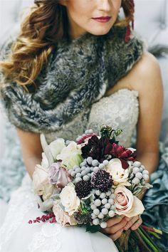 Whimsical Woodland Winter Wedding Bouquet Ideas