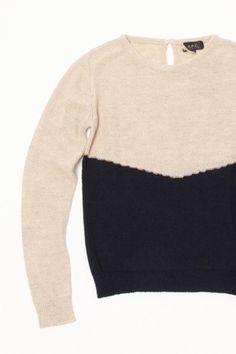 A.P.C. - ecru colorblock 70s sweater
