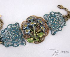 Repurposed Art Nouveau Buckle Bracelet Mixed Media Jewelry, One of a Kind Designs from JryenDesigns.etsy.com