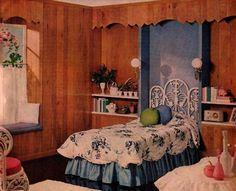 "Weldwood Paneling ""Better Homes and Gardens"" September 1959 Vintage Space, Vintage Room, Bedroom Vintage, Vintage Home Decor, Vintage Furniture, Cool Furniture, 1950s Bedroom, Retro Bedrooms, Mid Century Bedroom"