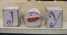 Snowman Joy - easy to do out of paper maché boxes Christmas Blocks, Primitive Christmas, Christmas Signs, Christmas Snowman, Rustic Christmas, Christmas Projects, Winter Christmas, Christmas Decorations, Snowman Crafts