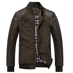 Hombres de Mosaic Corteza delgada chaqueta de cuero – USD $ 29.99