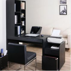 Two-Piece Modular Computer Desk With Bookcase Home Office Furniture Black Finish
