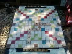 I fell in love with an outdoor scrabble board that I saw on Pinterest…