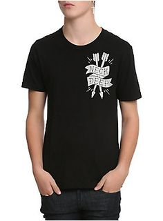 "Black T-shirt from Neck Deep with arrow logo on front and handshake design on the back that reads ""Take Care And Please Don't Forget Me."""