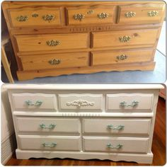 Dresser before and after ~ painted a bright white, pulls in a patina. Middle top drawer with appliqué and glass knob. Cottage chic furniture
