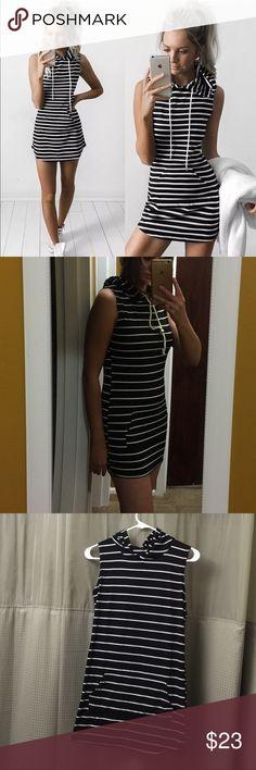 "Hooded mini dress NEW.Sexy summer hooded sleeveless mini dress size medium length 73 cm bust 94cm  material: polyester. Iam 5""7 Dresses Mini"